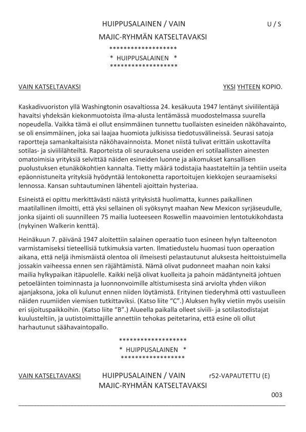 Majestic 12 -asiakirjan yksi sivu käännettynä suomenkielelle.