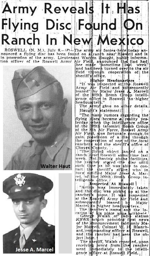 Roswellin tapaus uutisoitiin vuonna 1947 sanomalehdissä.