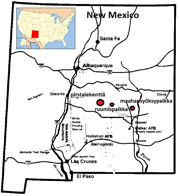 Roswellin tapauksen tapahtumapaikkojen kartta.