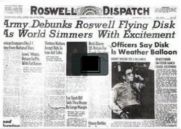 Roswellin tapaus uutisoitiin myös Roswell Dispatch -sanomalehdessä.