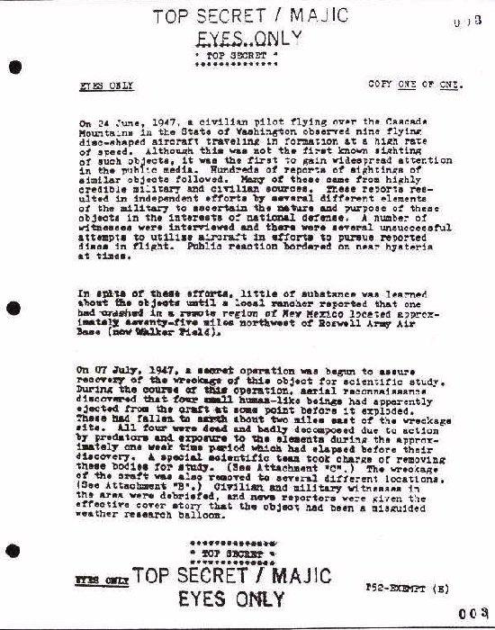 Yhden Majestic 12 -asiakirjan yksi sivu englanninkielisenä.