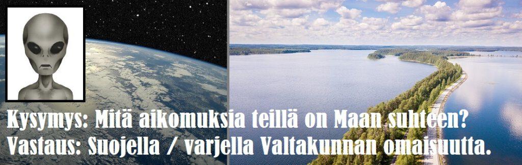 Maan ilmakehä ja järvimaisemaa, harmaa avaruusolento.