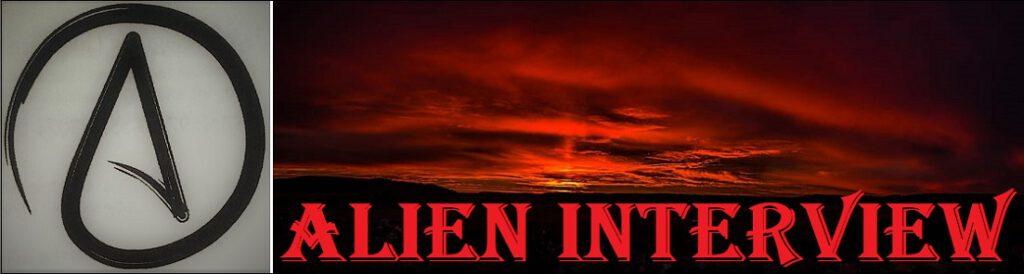 Auringonlasku ja kirjan Alien Interview nimi. Kirja on suomenkieliseltä nimeltään Roswellin avaruusolennon haastattelu.