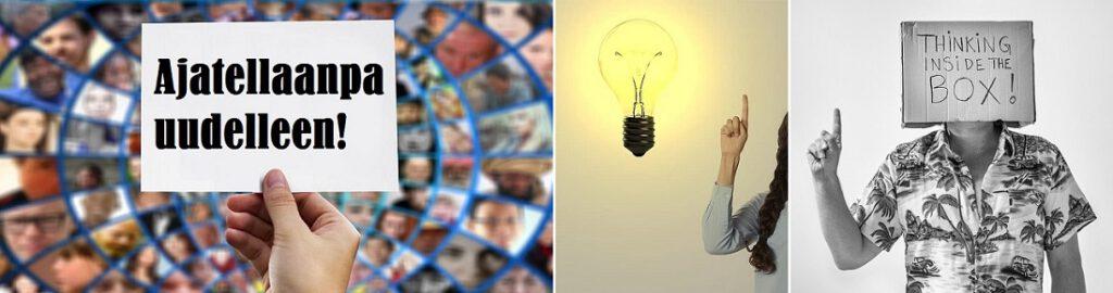 Idea, hehkulamppu, laatikon sisällä ajatteleminen. Kirja Roswellin avaruusolennon haastattelu pakottaa uudenlaiseen ajatteluun.