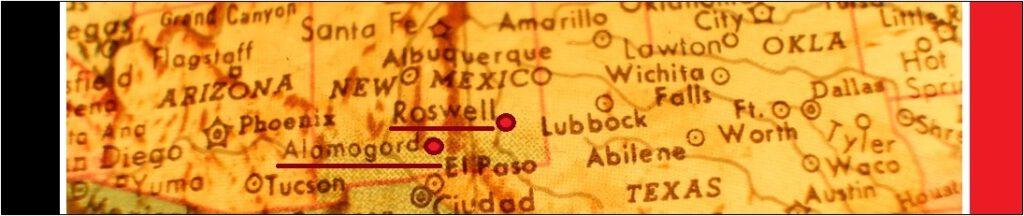 New Mexicon kartta, jossa näkyy kaupungit Roswell, Alamogordo ja Albuquerque.