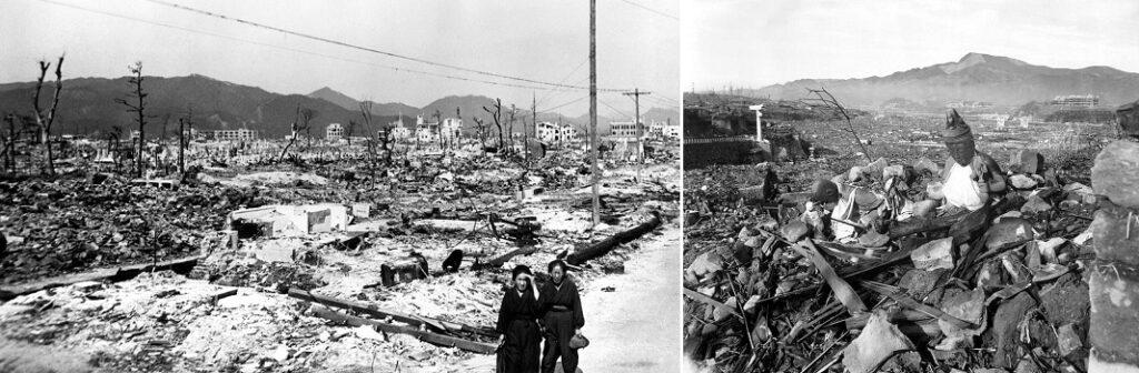 Hiroshiman ja Nagasakin kaupunkien atomipommituksen jälkiä vuodelta 1945.