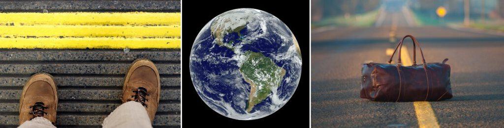 Planeetta Maa ja maantien keltainen viiva.