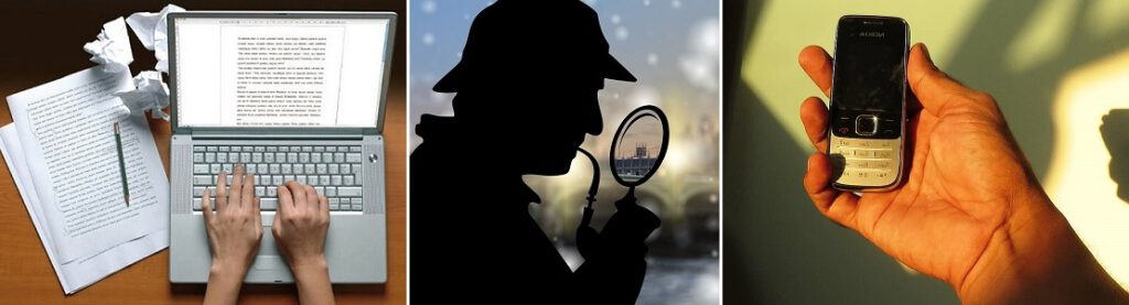 Sherlock Holmes, tietokone ja puhelin.