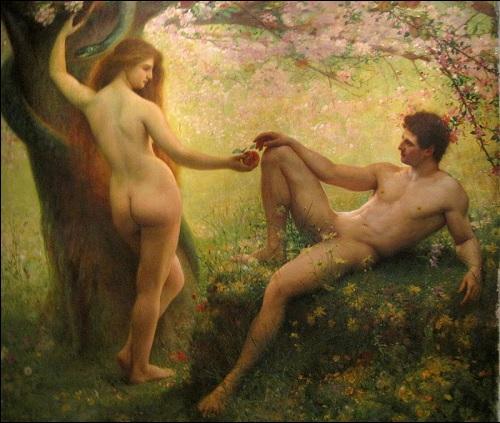 Maalaus Raamatun mukaisista ensimmäisistä ihmisistä Aatamista ja Eevasta.