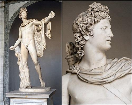 Kreikkalaisen ja roomalaisen mytogian mukaisen jumala Apollon tai Apollonin patsas.