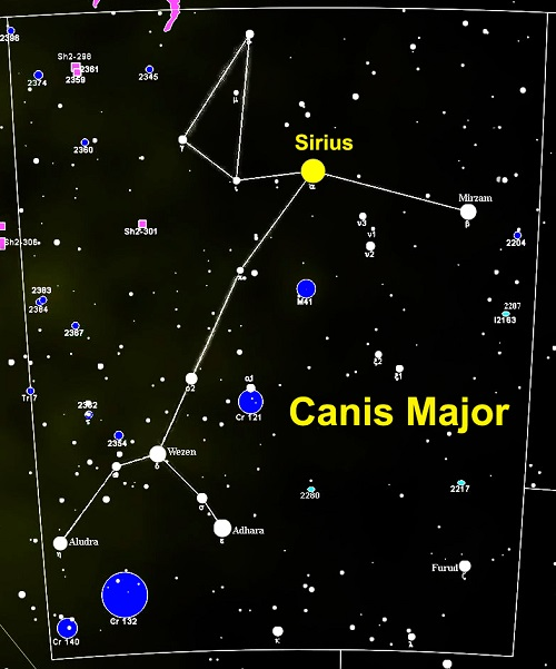 Tähdistö Canis Major (Iso koira) ja sen kirkkain tähti Sirius.