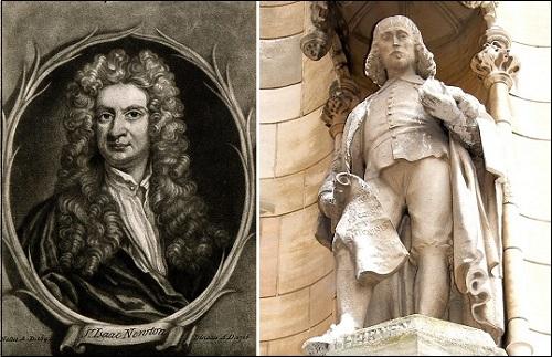 Sir Isaac Newton, maalaus ja patsas.