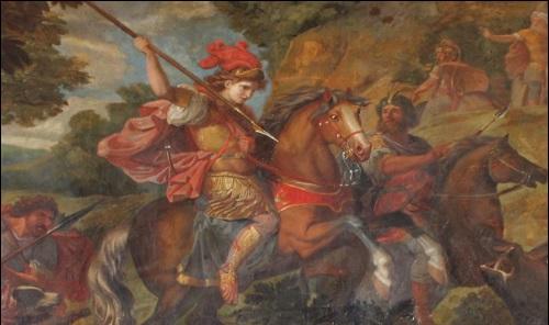 Kyyros II eli Kyyros Suuri taistelun tuoksinassa maalauksessa.