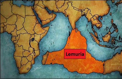 Kadonnut manner Lemuria Intian valtamerellä.