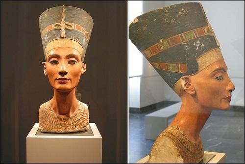 Egyptin kuningatar Nefertitin patsas.