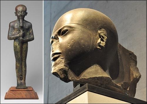 Muinaisen Egyptin jumala Ptahin patsaita.
