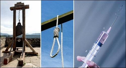 Kuolemanrangaistus: giljotiini, hirttoköysi ja ruisku. Kirjassa Roswellin avaruusolennon haastattelu on maininta kuolemanrangaistuksesta maanpetoksesta Amerikan yhdysvaltoja vastaan.