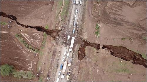 Maanpinnan halkeama Keniassa.