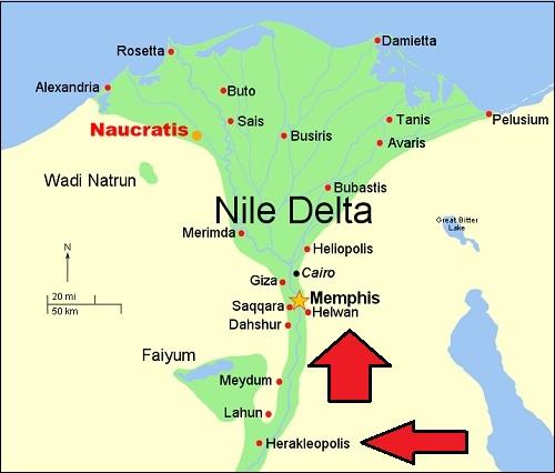 Egyptin kartta, jossa näkyy kaupungit Memfis (memphis) ja Herakleopolis.