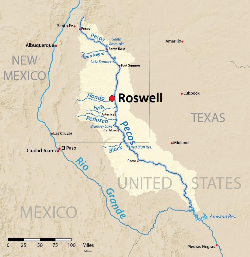 Kartta: New Mexico ja Roswell, Yhdysvallat.