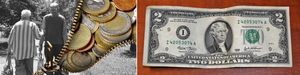 Rahaa: euroja ja kahden dollarin seteli, eläkeläisiä.