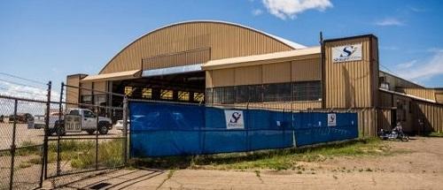 Roswellin RAAF-tukikohdan lentokonehalli.